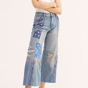 NWT! We The Free Sz 30, wide leg distressed jeans